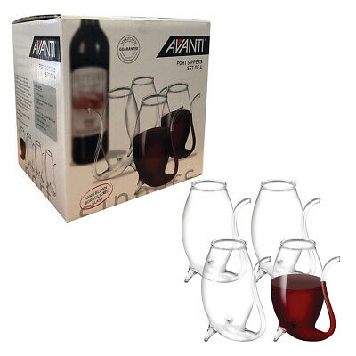 Port Sippers Set 4 Glass Decanter Gift Boxed White Red Wine Pipe Liqueurs Sipper