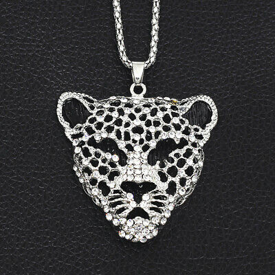 Betsey Johnson Black Resin Crystal Leopard Head Pendant Sweater Chain Necklace