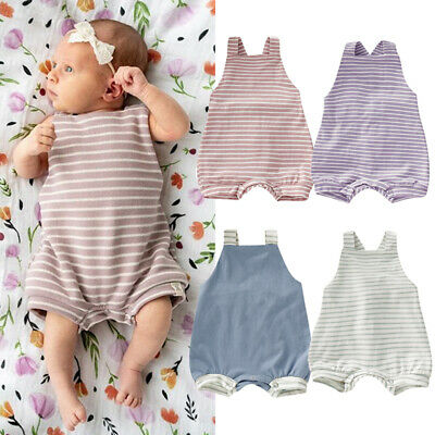 Newborn Baby Boy Girl Striped Romper Bodysuit Jumpsuit Outfits Clothes Playsuit