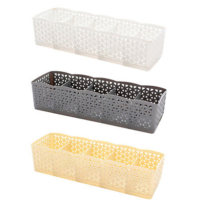 1PC 5 Cells Plastic Organizer Storage Boxs Tie Bra Socks Drawer Cosmetic Divider