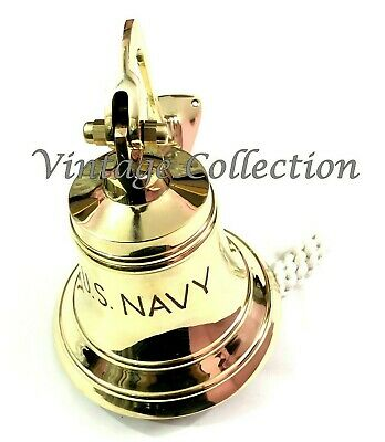 Brass Ship Bell with Rope Lanyard Pull ~ Nautical Maritime Home Wall Decor