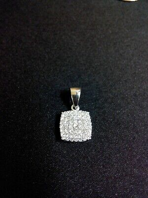 Classic Convex Square 18K 18ct 750 Hallmarked Genuine Fine White Gold Pendant