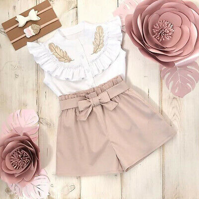 0a765b19acf2 Lovely Kid Baby Girls Feather Summer Tops Vest Pants Shorts Outfits Clothes  Set