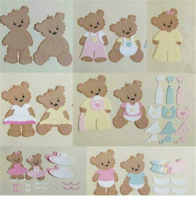 Cute Baby Bear & Clothes Metal Cutting Dies Stencils for DIY Scrapbooking Paper