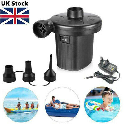 2 in 1 Electric Air Bed Pump Camping Paddling Pool Mains Inflator UK-Plug