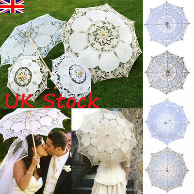 Retro Lace Sun Umbrella Parasol Western-style Banquet Wedding Bridal Umbrella UK