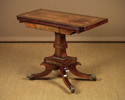 Antique Regency Era Brass Inlaid Rosewood Fold Over Games Table c.1820.