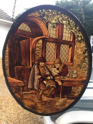 Unique Stained Glass Hand Painted Window Panel Old Period Antique Ye Old Inn
