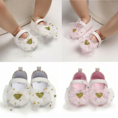 Toddler Girl Crib Lace Shoes Newborn Baby Soft Sole Prewalker Anti-slip Sneakers