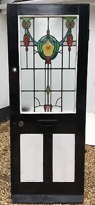 Victorian Stained Glass Front Door Period Old Reclaimed Antique Leaded Wood Used