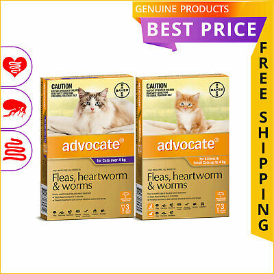 Advocate for Cats All Sizes 3 Doses Heart worm Flea Worm Prevention by Bayer