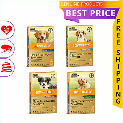 Advocate All Sizes for Dogs 3 Doses Heartworm Flea and Worm Control by Bayer