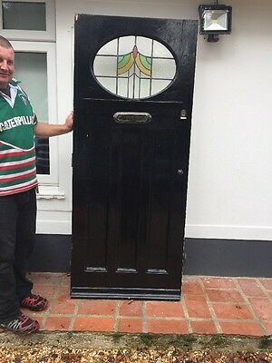 1930s FRONT DOOR  RECLAIMED EDWARDIAN WOOD LEAD STAINED GLASS ART DECO PERIOD