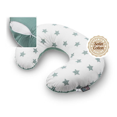Nursing Pillow Breastfeeding Support Pregnancy Green Stars Removable Cover Zip