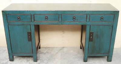 rich teal-blue lacquered elegant antique chinese desk/console