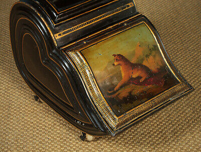 Antique Toleware Coal Box with Painted Scene of a Dog c.1860.