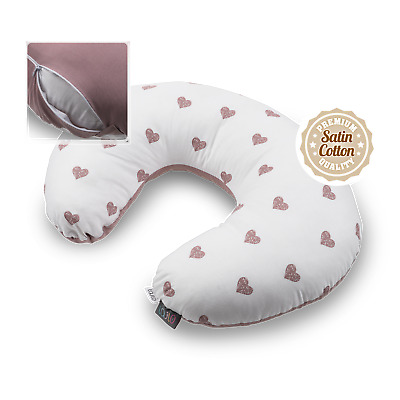 Breast Feeding Pillow Mother Support Pregnancy Blush Hearts Removable Cover Zip