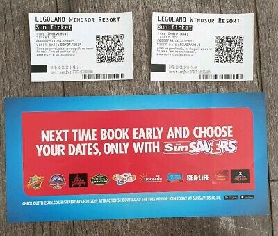2 x ADULT LEGOLAND WINDSOR TICKETS  Wednesday 3rd July 2019