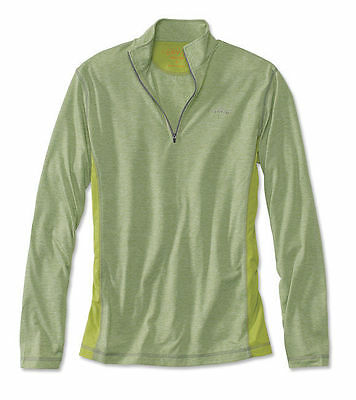 Mens Orvis Trout Bum 0853 Wicking Quarter-Zip Shirt Large Green Pullover NWT