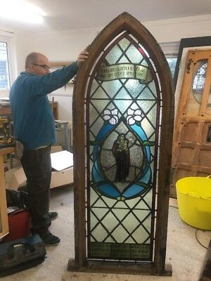 Antique Church Stained Glass Window Hand Painted Old Arch Reclaim  Period Rare 1
