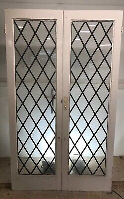 ART DECO FRENCH DOORS ANTIQUE PERIOD OLD RECLAIMED LEAD WOOD LATTICE LEAD 20s 30