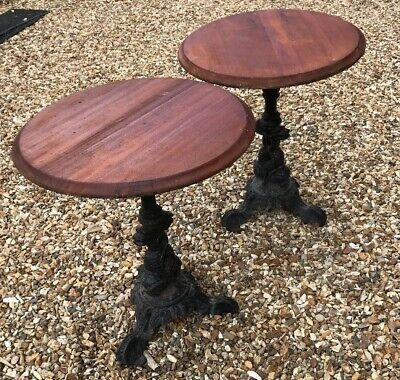 Antique Cast Iron Pub Tables Side Bistro Patio Cafe Hardwood Period Old Reclaim