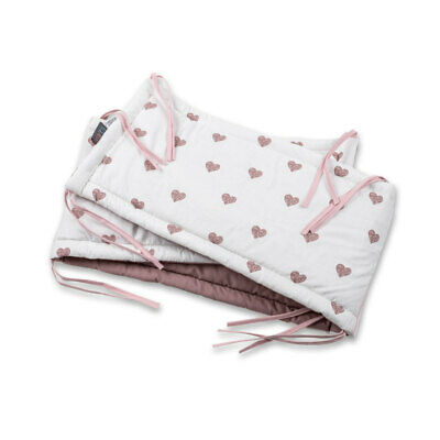 Cot Bumper Baby Bed Luxury Cotton Blush Hearts Baby Shower Gift Toddler Bed