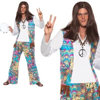 Donna 60s 70s Hippie Costume Adulti Hippy Costume Dietro Il Collo Tuta