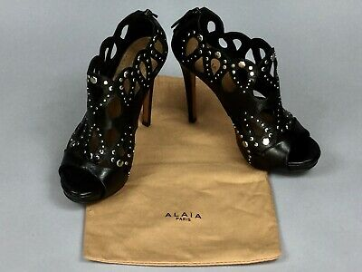 037cafa7626 ALAIA Black Perforated Leather Metal Open Toe Heels Women's Ankle Boots Size  38