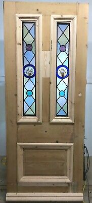 Victorian Stained Glass Front Door Period Old Reclaimed Antique Lead Pine Wood