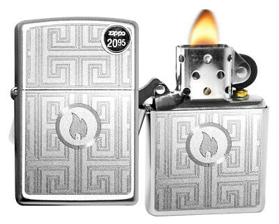 Zippo Lighter 29857 Labyrinth Flame Logo Satin Chrome Finish Windproof Brand New