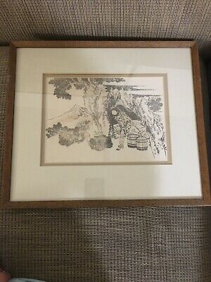 Framed Antique Hokusai Woodblock Print Sketch Ukiyoe Manga Samurai Bushidō Farm