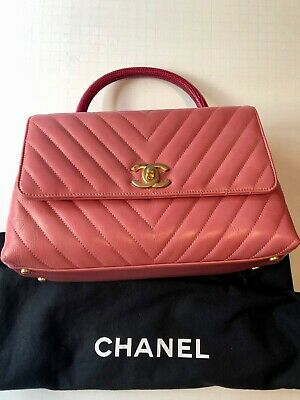 55bb55545875 CHANEL Calfskin Lizard Chevron Quilted Small Coco Handle Flap Pink