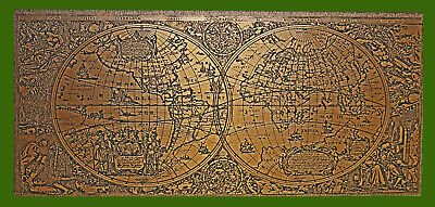 Old World Global Map Copper On Wood Etching 31 1/2 x 16 Excellent Condition