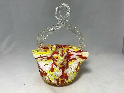Vintage Bohemian Czech Art Spatter Glass Basket With Thorn Handle