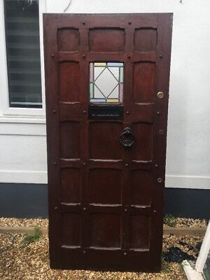 SOLID OAK STAINED GLASS FRONT DOOR ANTIQUE PERIOD OLD RECLAIMED LEAD WOOD 1900s