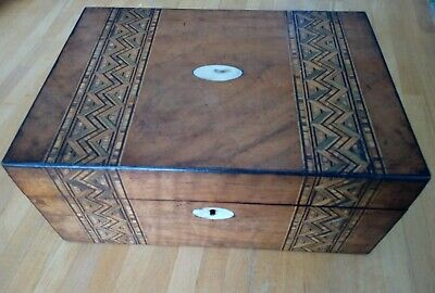 Antique Victorian Tunbridge Ware Wooden Marquetry Jewellery/Sewing/Work Box