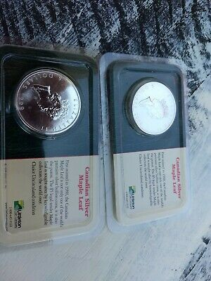 1999 2000 Pair Silver Canadian $5 Maple Leaf  Uncirculated, Sealed Littleton