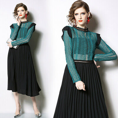 2019 Summer Runway Hollow Out Lace Patchwork Mock Neck Long Sleeve Women Dress