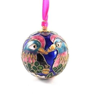 """Round Cloisonne Ornament Holiday Christmas 2"""" Birds Flowers Blue Green Pink Gold"""