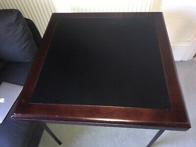 Antique Vintage Card Table Black Leather inset Mahogany Wood Fold Away Portable
