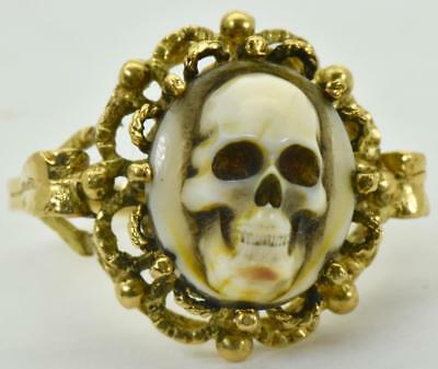 $7000 MUSEUM 18th C. Georgian Memento Mori Skull Cameo 18K Gold ladies ring