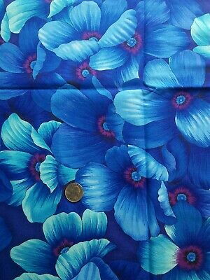 """Benartex Blue Floral 100% Cotton Fabric One Yard 44""""W Quilting Sewing"""