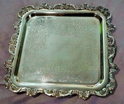 """Poole Silver Co Silverplate Square Footed Tray 12""""x12"""" Antique -Engraved-"""