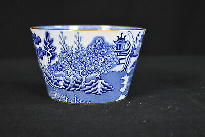 Vintage Wedgwood Willow Blue Condiment Bowl with Gold Rim
