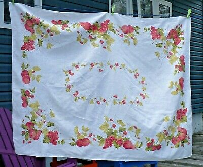 Lovely vintage linen tablecloth - red apples berries pears grapes floral 64 x 48