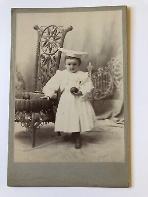 Cabinet Card Photo Little Girl Graduation Mortarboard Cap Toy Rubber Balls 1800s