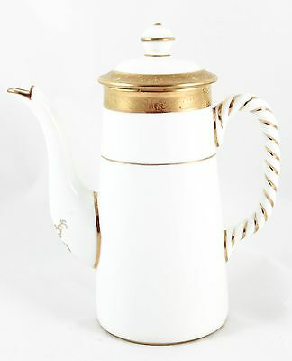 Superb Coffee Pot & Lid Antique Cauldon China L4417 Raised Gold Encrusted White