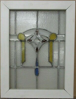 "MIDSIZE OLD ENGLISH LEADED STAINED GLASS WINDOW Pretty Geometric 20.25"" x 26.75"""