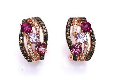 LeVian Earrings Chocolate Diamonds Tourmaline Pink Amethyst Garnet 14k Rose Gold